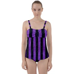 Stripes1 Black Marble & Purple Brushed Metal Twist Front Tankini Set