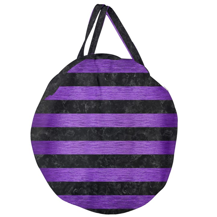 STRIPES2 BLACK MARBLE & PURPLE BRUSHED METAL Giant Round Zipper Tote