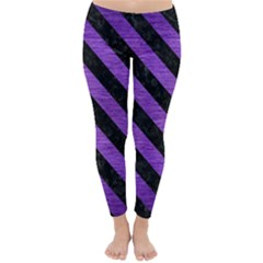 Stripes3 Black Marble & Purple Brushed Metal Classic Winter Leggings