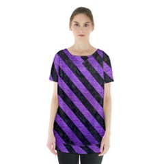 Stripes3 Black Marble & Purple Brushed Metal Skirt Hem Sports Top