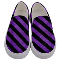 Stripes3 Black Marble & Purple Brushed Metal Men s Canvas Slip Ons
