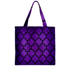Tile1 Black Marble & Purple Brushed Metal Zipper Grocery Tote Bag
