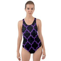 Tile1 Black Marble & Purple Brushed Metal (r) Cut Out Back One Piece Swimsuit