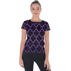 Tile1 Black Marble & Purple Brushed Metal (r) Short Sleeve Sports Top
