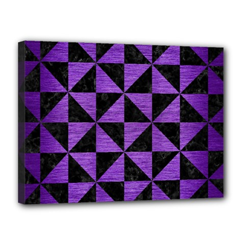 Triangle1 Black Marble & Purple Brushed Metal Canvas 16  X 12  by trendistuff