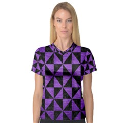 Triangle1 Black Marble & Purple Brushed Metal V Neck Sport Mesh Tee by trendistuff