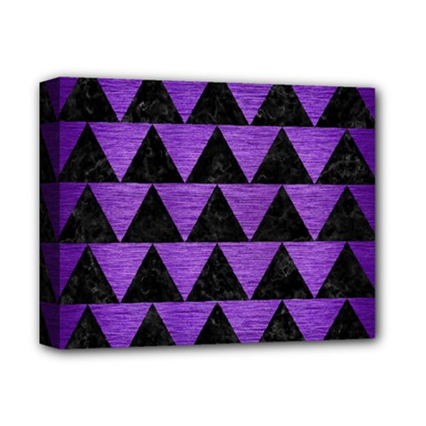 Triangle2 Black Marble & Purple Brushed Metal Deluxe Canvas 14  X 11  by trendistuff