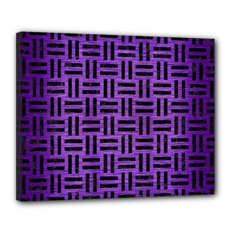 Woven1 Black Marble & Purple Brushed Metal Canvas 20  X 16  by trendistuff