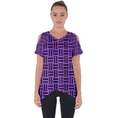 Woven1 Black Marble & Purple Brushed Metal Cut Out Side Drop Tee