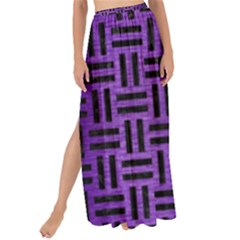 Woven1 Black Marble & Purple Brushed Metal Maxi Chiffon Tie Up Sarong