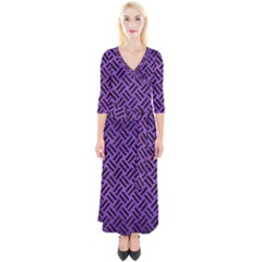 Woven2 Black Marble & Purple Brushed Metalwoven2 Black Marble & Purple Brushed Metal Quarter Sleeve Wrap Maxi Dress