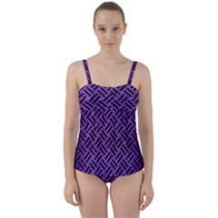 Woven2 Black Marble & Purple Brushed Metalwoven2 Black Marble & Purple Brushed Metal Twist Front Tankini Set
