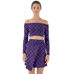 Woven2 Black Marble & Purple Brushed Metal (r) Off Shoulder Top With Skirt Set