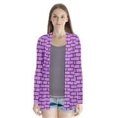 Brick1 Black Marble & Purple Colored Pencil Drape Collar Cardigan