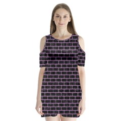 Brick1 Black Marble & Purple Colored Pencil (r) Shoulder Cutout Velvet One Piece
