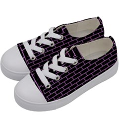 Brick1 Black Marble & Purple Colored Pencil (r) Kids  Low Top Canvas Sneakers by trendistuff