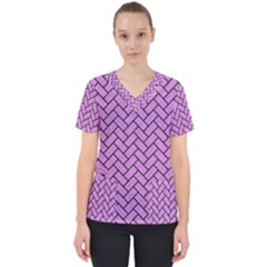 Brick2 Black Marble & Purple Colored Pencil Scrub Top