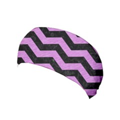 Chevron3 Black Marble & Purple Colored Pencil Yoga Headband