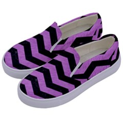 Chevron3 Black Marble & Purple Colored Pencil Kids  Canvas Slip Ons by trendistuff
