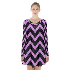 Chevron9 Black Marble & Purple Colored Pencil (r) Long Sleeve Velvet V Neck Dress