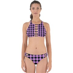 Circles1 Black Marble & Purple Colored Pencil Perfectly Cut Out Bikini Set