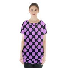 Circles2 Black Marble & Purple Colored Pencil (r) Skirt Hem Sports Top