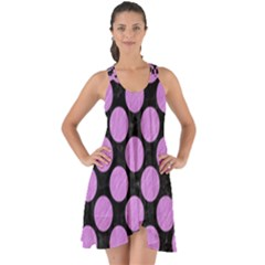 Circles2 Black Marble & Purple Colored Pencil (r) Show Some Back Chiffon Dress