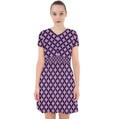 Circles3 Black Marble & Purple Colored Pencil Adorable In Chiffon Dress