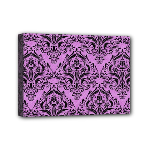 Damask1 Black Marble & Purple Colored Pencil Mini Canvas 7  X 5