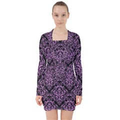 Damask1 Black Marble & Purple Colored Pencil (r) V Neck Bodycon Long Sleeve Dress