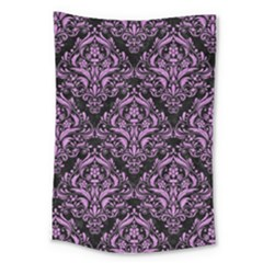 Damask1 Black Marble & Purple Colored Pencil (r) Large Tapestry by trendistuff