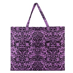 Damask2 Black Marble & Purple Colored Pencil Zipper Large Tote Bag by trendistuff