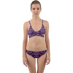 Damask2 Black Marble & Purple Colored Pencil (r) Wrap Around Bikini Set