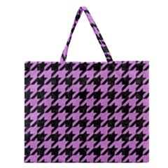Houndstooth1 Black Marble & Purple Colored Pencil Zipper Large Tote Bag by trendistuff