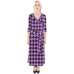Houndstooth1 Black Marble & Purple Colored Pencil Quarter Sleeve Wrap Maxi Dress