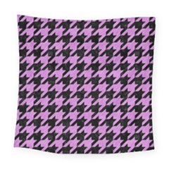 Houndstooth1 Black Marble & Purple Colored Pencil Square Tapestry (large) by trendistuff
