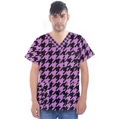 Houndstooth1 Black Marble & Purple Colored Pencil Men s V Neck Scrub Top