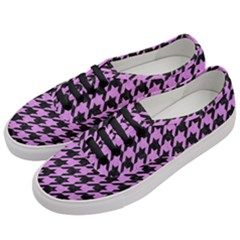 Houndstooth1 Black Marble & Purple Colored Pencil Women s Classic Low Top Sneakers by trendistuff