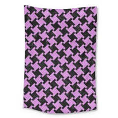 Houndstooth2 Black Marble & Purple Colored Pencil Large Tapestry by trendistuff