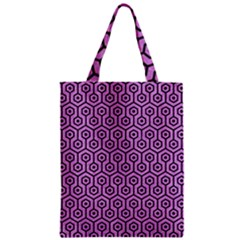 Hexagon1 Black Marble & Purple Colored Pencil Zipper Classic Tote Bag by trendistuff