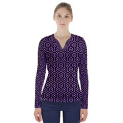 Hexagon1 Black Marble & Purple Colored Pencil (r) V Neck Long Sleeve Top
