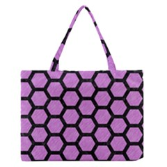Hexagon2 Black Marble & Purple Colored Pencil Zipper Medium Tote Bag by trendistuff