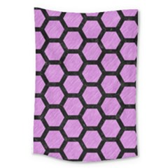 Hexagon2 Black Marble & Purple Colored Pencil Large Tapestry by trendistuff