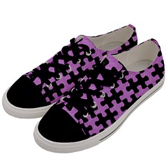 Puzzle1 Black Marble & Purple Colored Pencil Men s Low Top Canvas Sneakers by trendistuff
