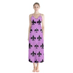 Royal1 Black Marble & Purple Colored Pencil (r) Button Up Chiffon Maxi Dress by trendistuff