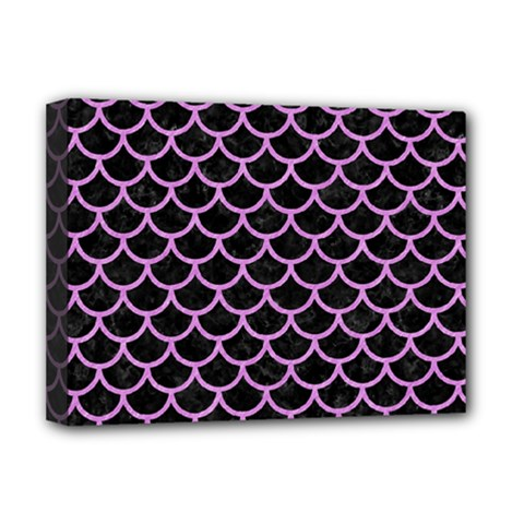 Scales1 Black Marble & Purple Colored Pencil (r) Deluxe Canvas 16  X 12   by trendistuff