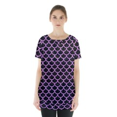 Scales1 Black Marble & Purple Colored Pencil (r) Skirt Hem Sports Top
