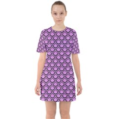Scales2 Black Marble & Purple Colored Pencil Sixties Short Sleeve Mini Dress