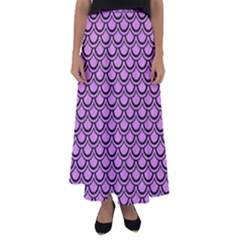 Scales2 Black Marble & Purple Colored Pencil Flared Maxi Skirt by trendistuff