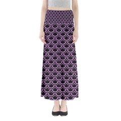 Scales2 Black Marble & Purple Colored Pencil (r) Full Length Maxi Skirt